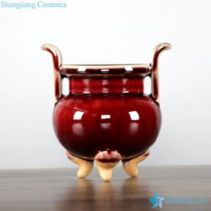 RZFW03 oxblood glaze shiny surface three leg porcelain censer with two ears