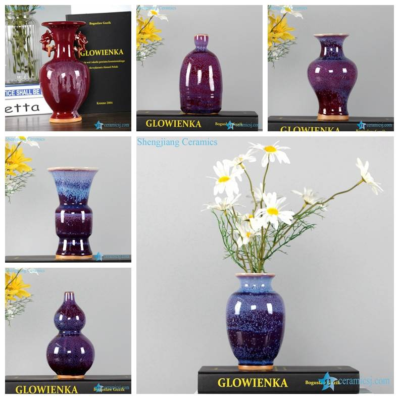 Red glaze starlit design Jingdezhen style porcelain vases