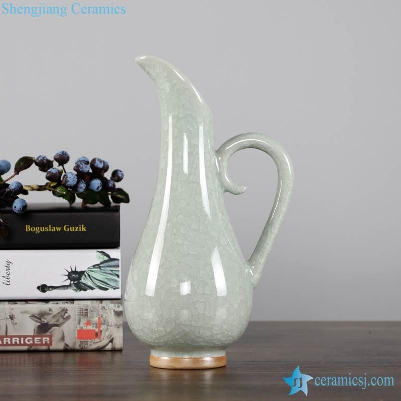 Ice crackle glaze light green color ceramic pitcher