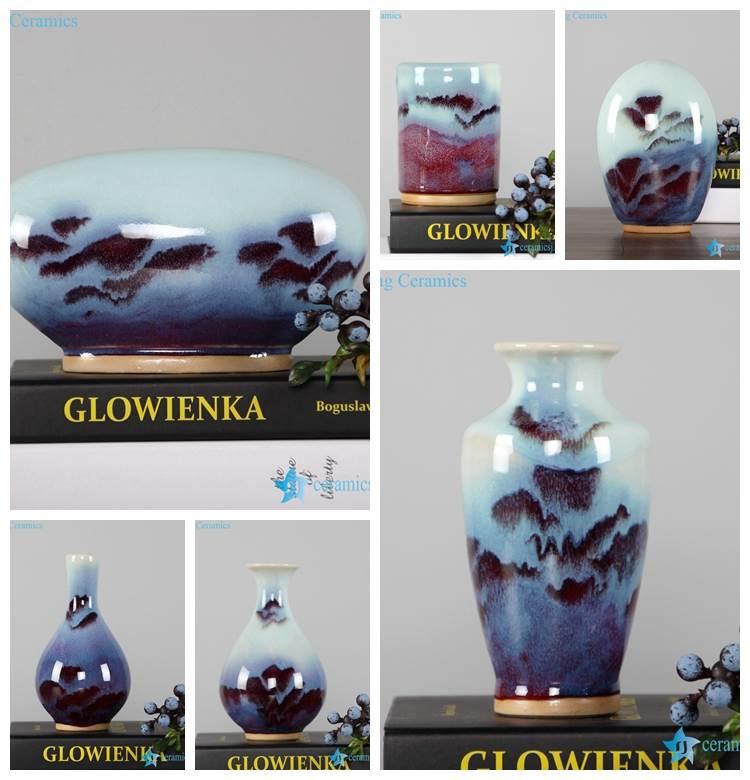 Transitional glaze red light blue mixed style fantastic ceramic vase