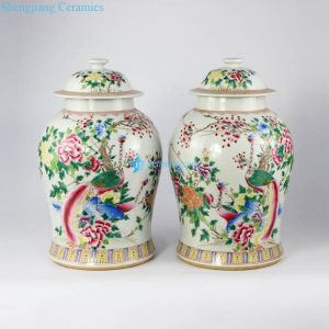 RZLR01 Famille rose colored phoenix floral pair of porcelain jar