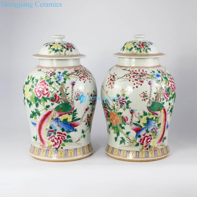 Famille rose colored phoenix floral pair of porcelain jar
