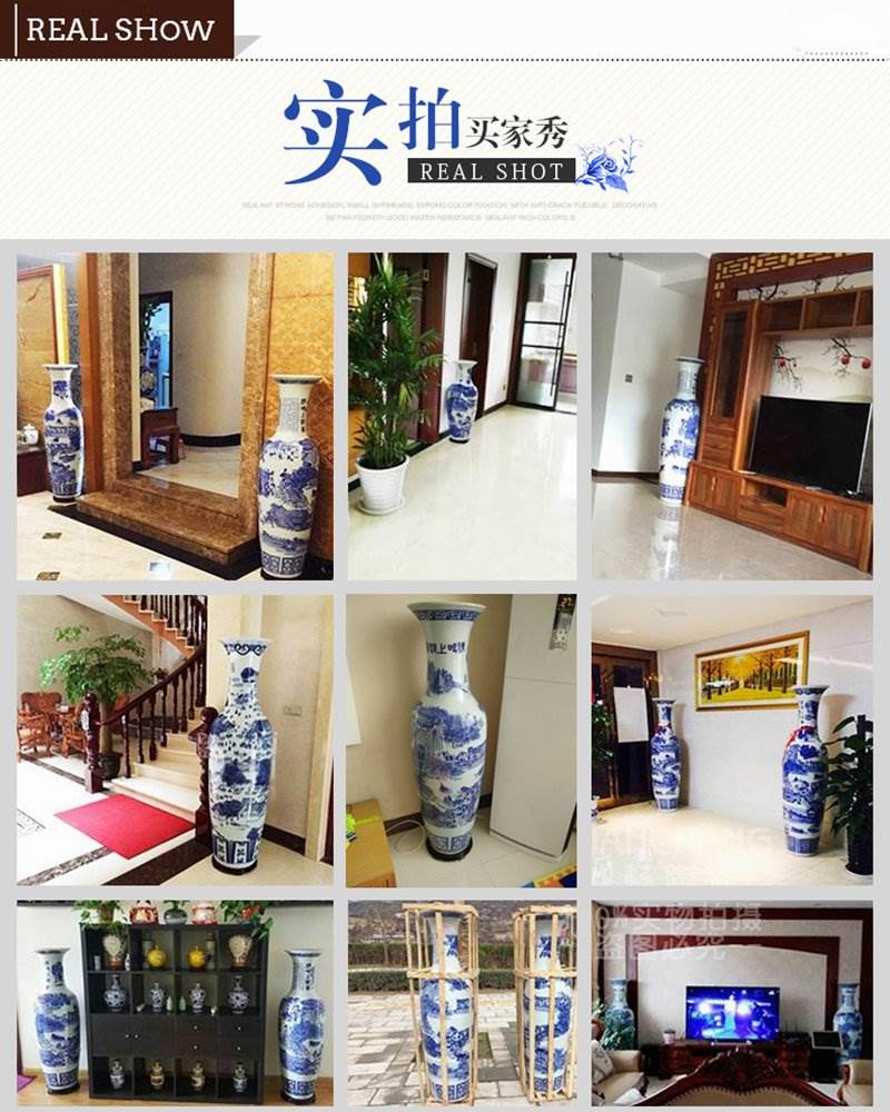 Real show of tall ceramic vase