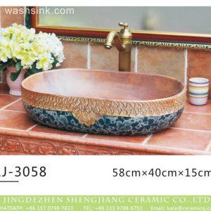 LJ-3058 Jingdezhen Sanitary Ware Printing Porcelain Bathroom glaze Wash Basin Sink