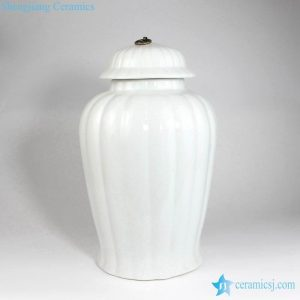 RYNQ243 Pumpkin design white color crockery jar with metal ring