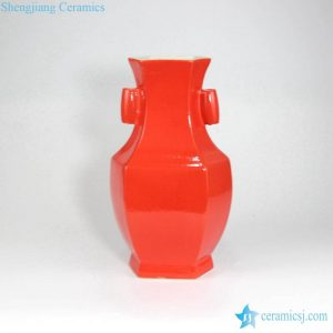 RYUU25 Six sides bright red ceramic vase with two ears