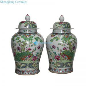 RYWQ10 RZLR01 Jingdezhen tradition famille rose hand paint bird flower antique style pair jars