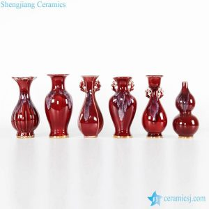 RZFW22-28 Different shape with transitional red glaze vases