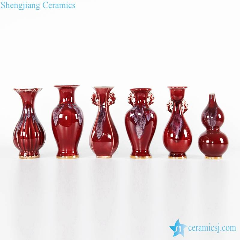 the red ceramic vases are for sale