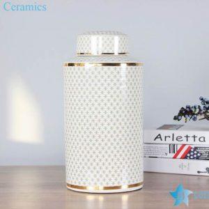 RZKA161302 Luxury design golden line decor ceramic tin jars