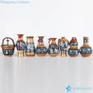RZLJ01-07 Mixed style clay background with blue and white decor country style flower vases for hotel