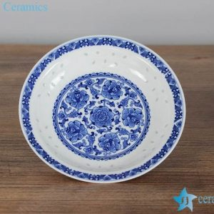 RZLL06 RZLL02 Floral design ceramic shallow bowl for dipping sauce