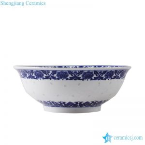 RZLL08 Large size blue and white transparent rice hole decoration ceramic salad bowl