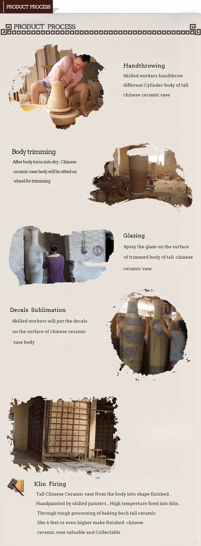 Large chinese ceramic vase product process