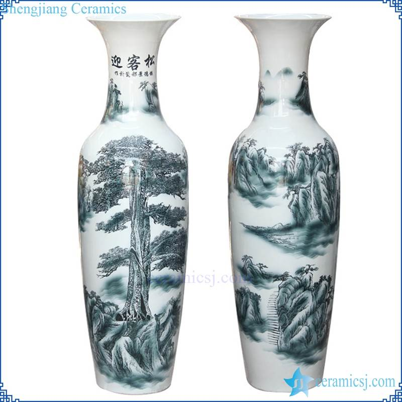 blue and white tall ceramic vase