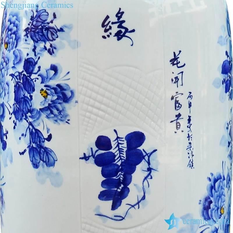 Details of ceramic vase blue and white