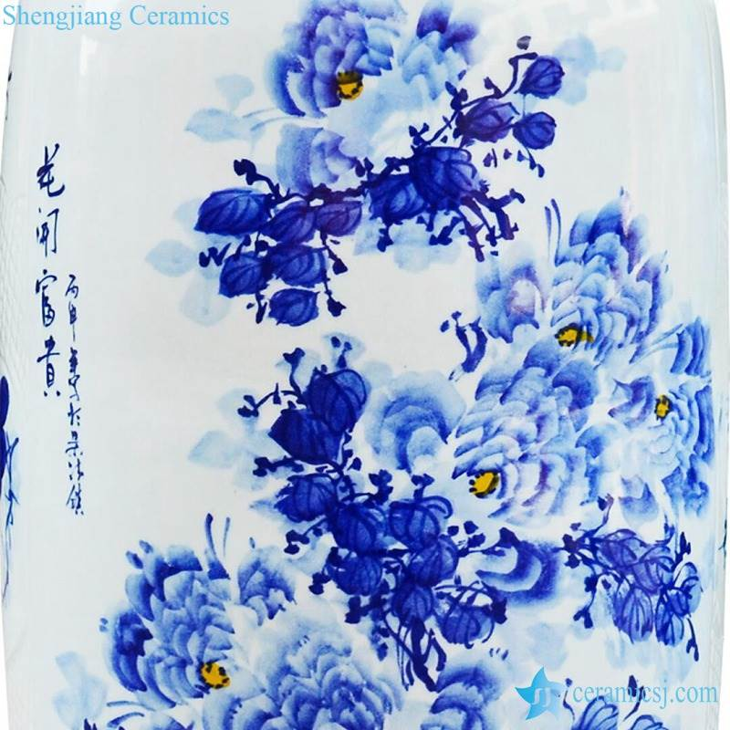 Flowers details in the tall ceramic vase