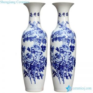 BV-100 wholesales antique chinese Blue and white flower tall porcelain vase
