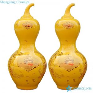 BV-111 wholesales antique chinese yellow ceramic porcelain flower vase