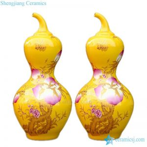 BV-114 wholesales antique chinese yellow floor ceramic porcelain flower vase