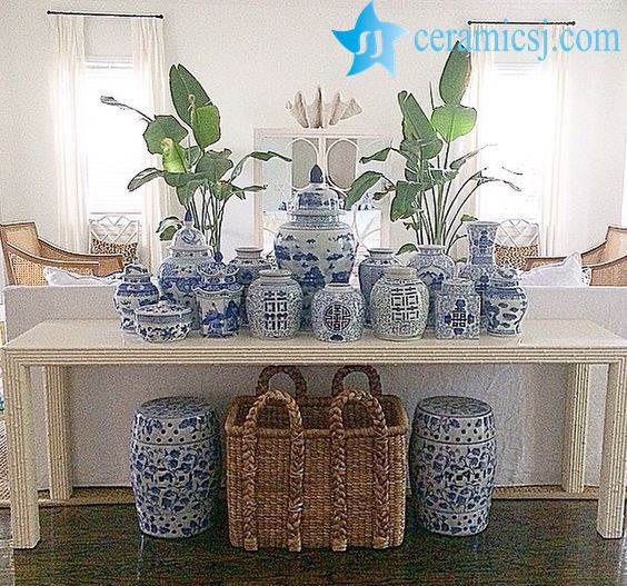 blue and white ceramic jars