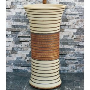 LJ-1005 Hot Sales special shape white and brown color with hand carved lines pedestal basin