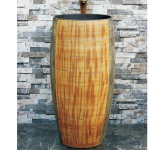 LJ-1006 Chinese factory direct hand carved the wood stripe one piece freestanding basin