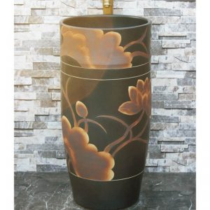 LJ-1008 Shengjiang factory black color with flowers pattern arts and crafts outdoor pedestal wash basin