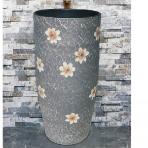 LJ-1010 Shengjiang factory porcelain grey color with beautiful flowers pattern outdoor wash basin