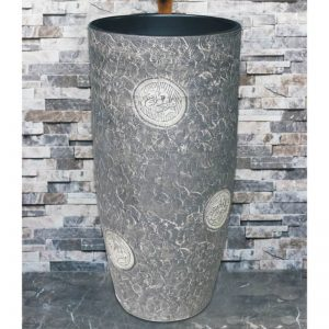 LJ-1011 China traditional style ceramic grey color with special printing pedestal basin