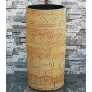 LJ-1014 Shengjiang factory direct wood with hand carved special pattern surface and black wall outdoor vanity basin