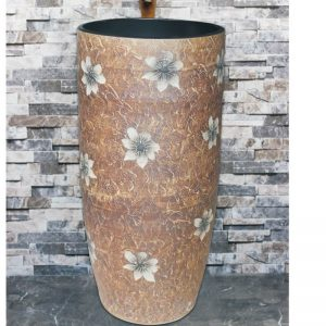 LJ-1016 Porcelain city Jingdezhen brown color with flowers printing one-piece basin