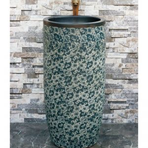 LJ-1017 China traditional style blue and white ceramic pedestal basin