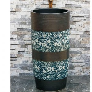 LJ-1018 Shengjiang factory direct hand carved black color and blue and white ceramic outdoor lavabo