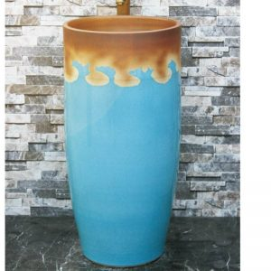 LJ-1019 Jingdezhen art ceramic light blue and brown outdoor vanity basin