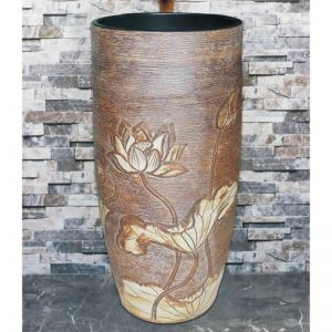 LJ-1020 China traditional style ceramic brown color with hand carved flowers pattern one-piece basin