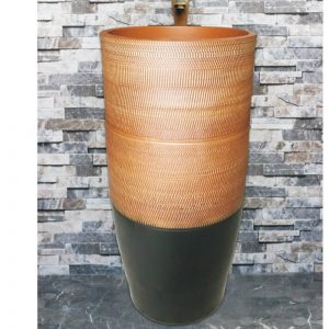 LJ-1024 Jingdezhen Shengjiang ceramic black and brown color with regular stripes outdoor lavabo