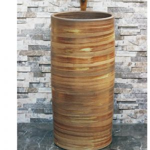 LJ-1027 Shengjiang factory wholesale price wood smooth surface outdoor pedestal wash basin