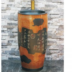 LJ-1034 Chinese traditional new style brown color with special pattern and words art ceramic pedestal basin