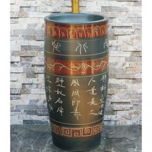 LJ-1035 Jingdezhen wholesale black color art ceramic with beautiful pattern and words one-piece basin