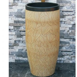 LJ-1036 New produced Jingdezhen Jiangxi antique light color leaf pattern ceramic wash pedestal basin