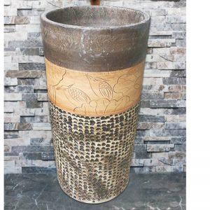 LJ-1037 Jingdezhen unique design dark art ceramic with great pattern one piece freestanding basin