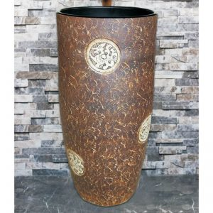 LJ-1038 Shengjiang factory hot sell product dark color with round special pattern pedestal basin