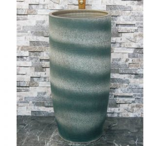 LJ-1039 Hot Sales special design dark green-and-white color art ceramic outdoor lavabo