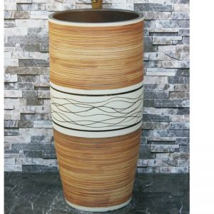 LJ-1040 Shengjiang factory hot new products wood surface and white color with black lines one-piece basin