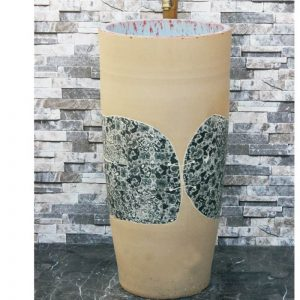 LJ-1042 Chinese art countertop light color with wintersweet pattern surface outdoor vanity basin