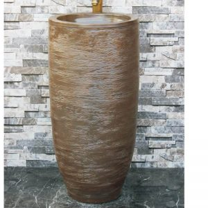 LJ-1046 China traditional high quality ceramic brown color pedestal basin