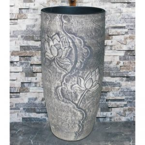 LJ-1047 Chinese morden new style grey color with beautiful flower pattern one-piece basin