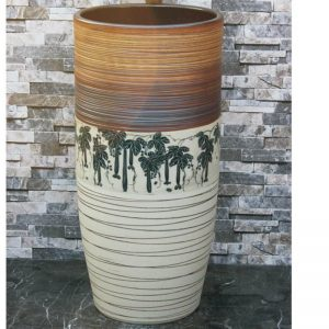 LJ-1049 Shengjiang factory direct white and brown with great trees pattern and lines pedestal basin