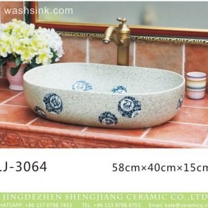 LJ-3064 Jingdezhen Sanitary Ware Porcelain Bathroom stamp glazing Wash Basin Sink